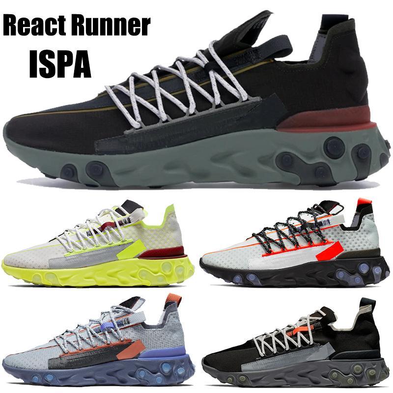 React Runner chaussures de course mousse ISPA hommes femmes à faible velours noir brun Ghost mens Aqua Platinum Tint Volt US 5.5-11
