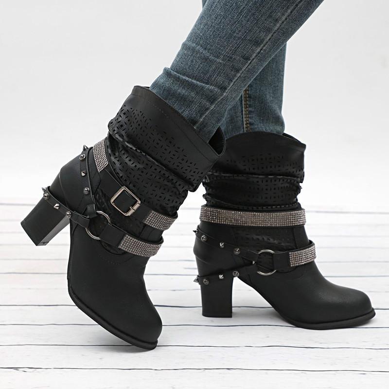 2020 botas de moda de las nuevas mujeres de invierno-Ponga en la plaza-talón mitad de la pantorrilla Botas Ronda-Toe hebilla del Medio talón de la PU de la Mujer Botas Mujer