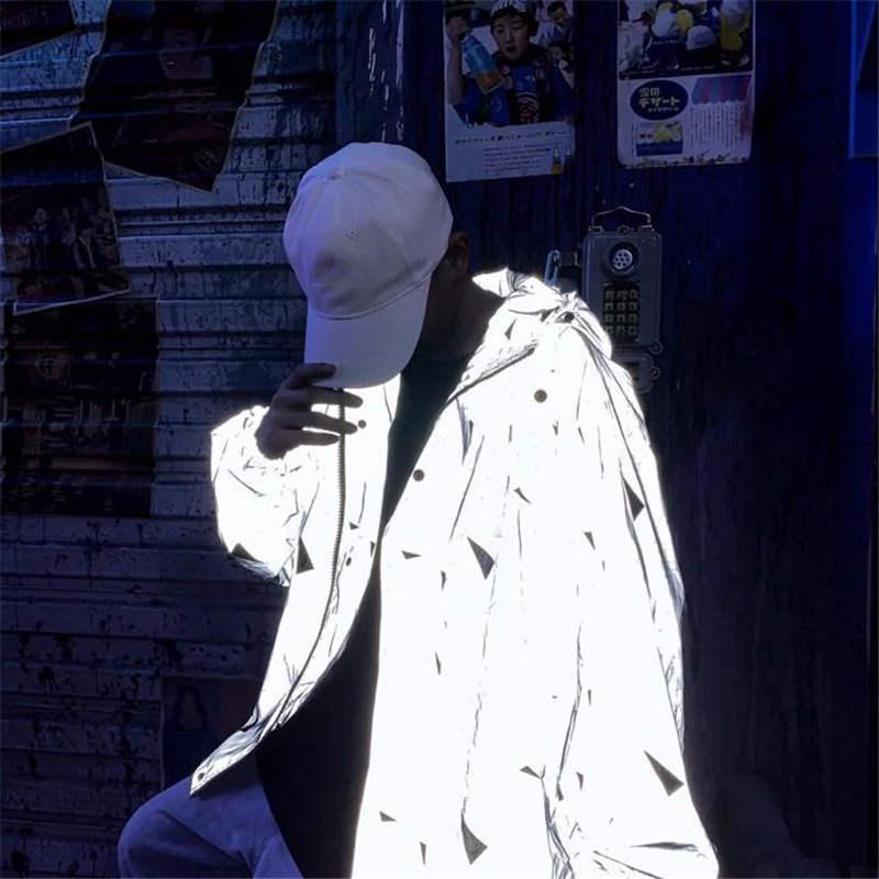 Moda Ceketler İçin Erkek Yansıtıcı Ceket Kapşonlu Üçgen Dikiş Desen Baskılı Streetwear Ceket Fermuar İçin Erkekler WINDBREAKER Gray Tops
