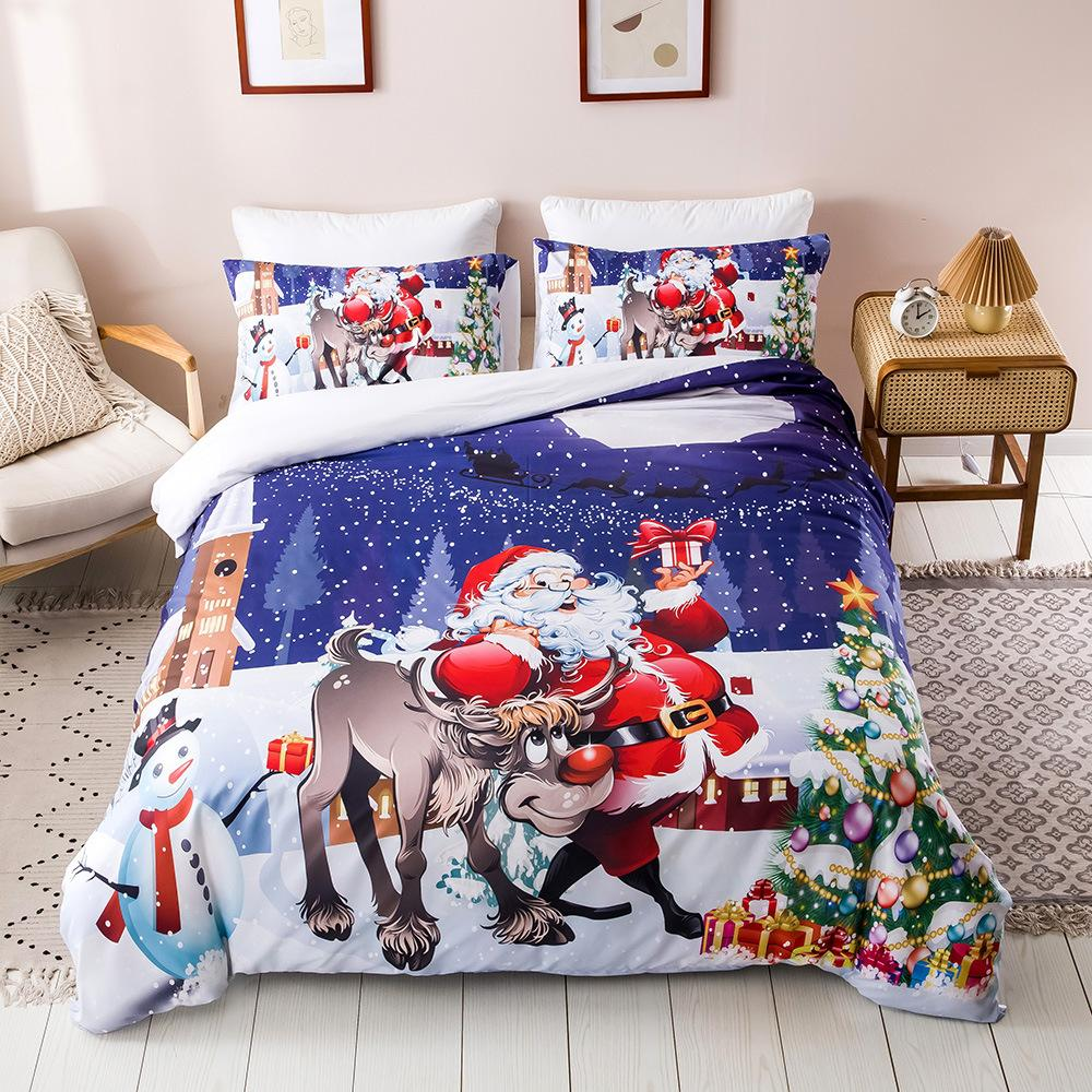 nevresim takımları yılbaşı SICAK kral yatak takımları 3D dijital baskı yatak Noel serisi süsleri