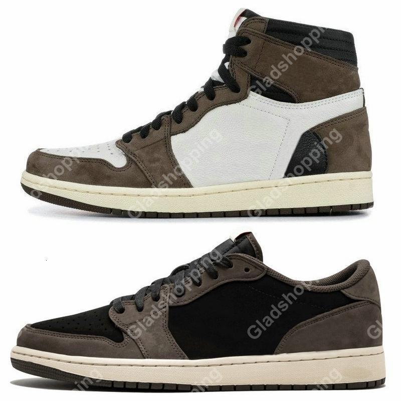 Scotts 1 High OG Hommes Basketball Chaussures Travis DESIGNER Low Top Sneaker De basket-ball Chaussure Formateurs avec la boîte Taille 13