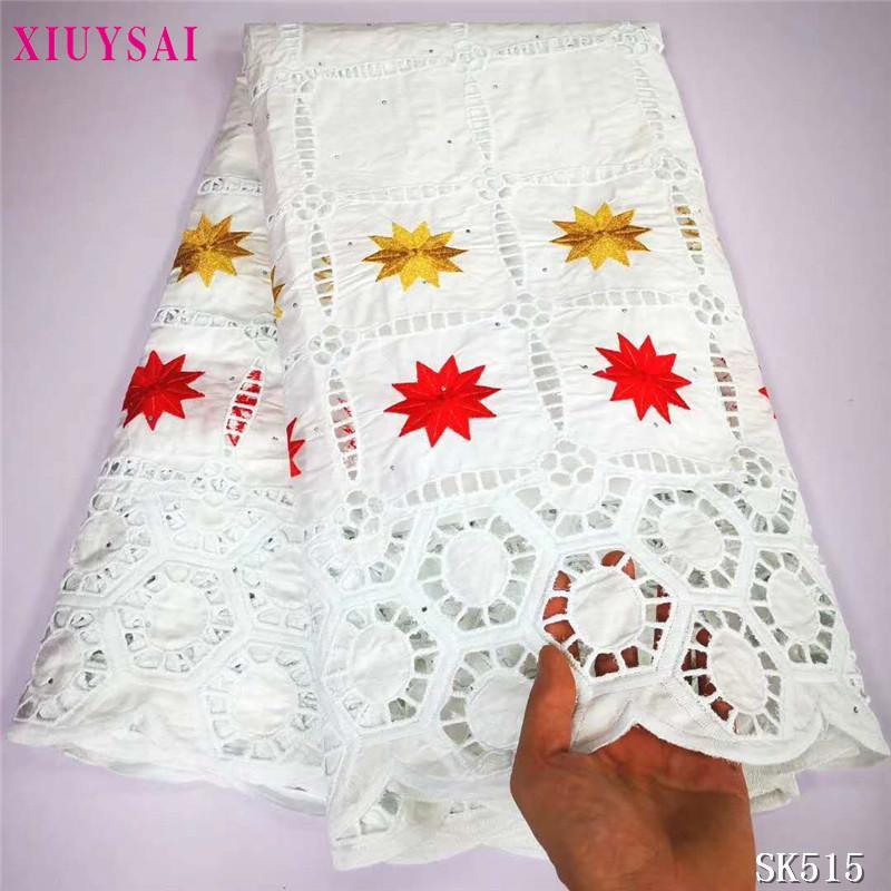 Última Bazin Riche Getzners 5Yards alta calidad africana francesa bordado Tela de algodón neto telas del cordón para el vestido SK515