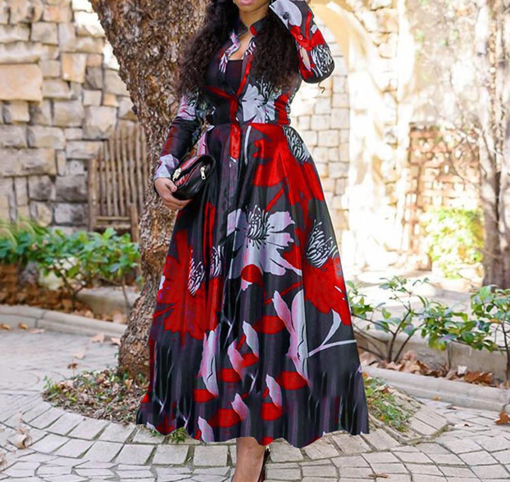 Mujer de un solo pecho ropa oscilación grande de impresión para mujer vestido de bola de manga larga vestido de las señoras de los vestidos de primavera otoño