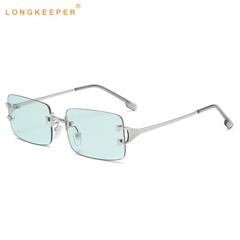 Luxuxvierecks Sonnenbrille Frauen Männer Weinlese-kleine Randlos-Platz Sonnenbrillen für Damen Kleine Frameless Eyeware Shades Gafas