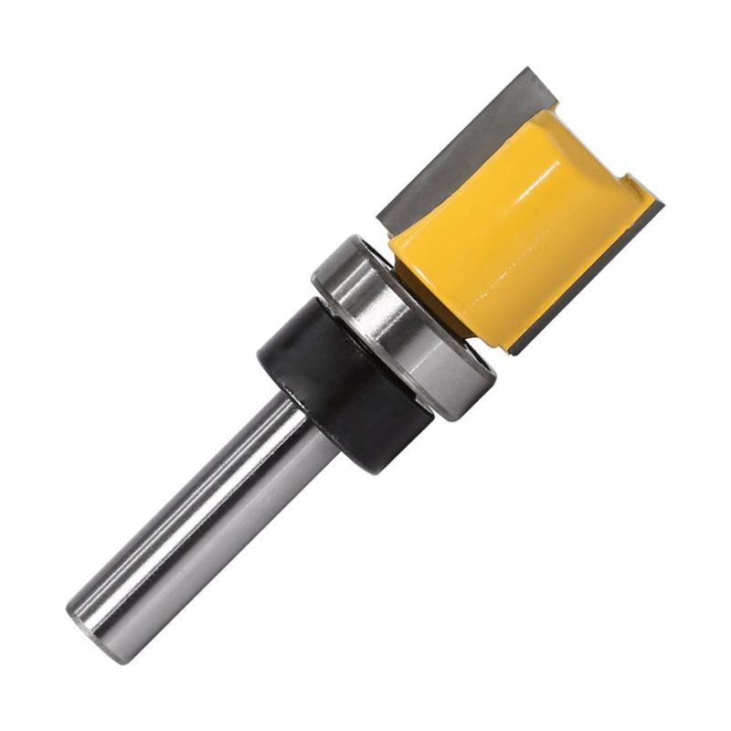 8mm 생크 템플릿 트림 경첩 봉 박음 라우터는 45 # 강철 스트레이트 엔드 밀 트리머 장부 커터 forWoodworking의 1PCS 비트