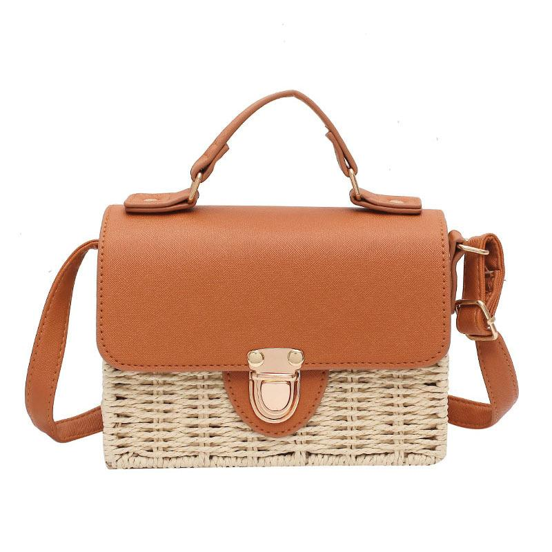 Women's Hot Selling Trendy Straw Woven Hand Bag Single Shoulder Bag Fashionable Two-Tone Korean Fashion Flap