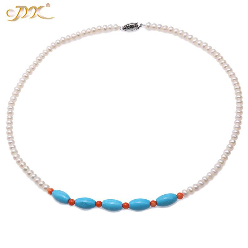 """JYX 2020 Elegant 5-5.5mm Flatly Round White Cultured Freshwater Pearl Necklace with Sky blue turquoise 19"""" for Women"""