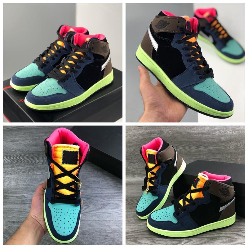 Nouvelle Arrivée 1 High Og Bio Back Backetball Chaussures de basket 1s Couleurs Épissage Mens Entraîneurs Femmes Sports Sneakers Taille 36-45