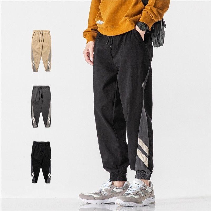 RBKmc Nan xia pantalons de 2020 pieds d'automne de liaison nouvelle contraste couleur couture mode rue Salopette pantalon décontracté pantsthree- occasionnel