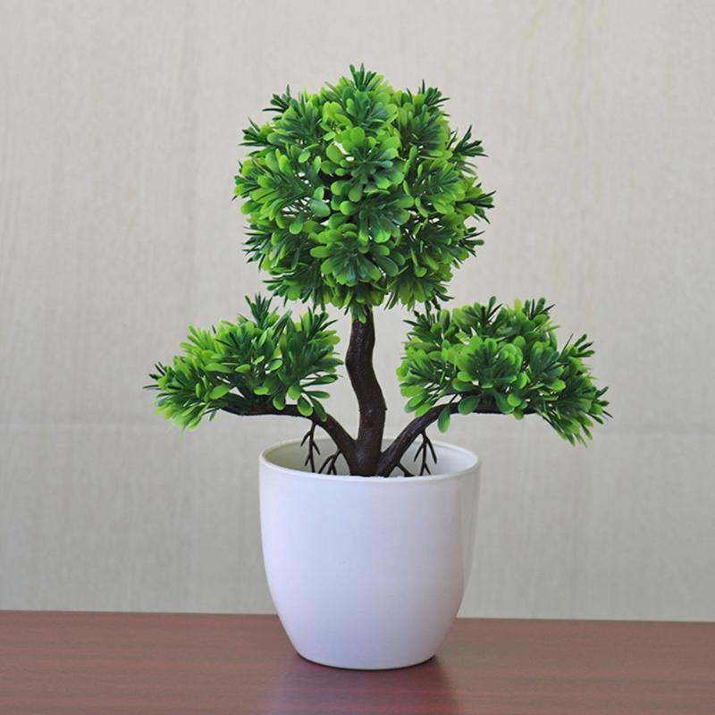 Planta de plástico al aire libre Mini Oficina Artificial Topiary del jardín del árbol decorativo de interior Decoración del ornamento Pot partido de la bola