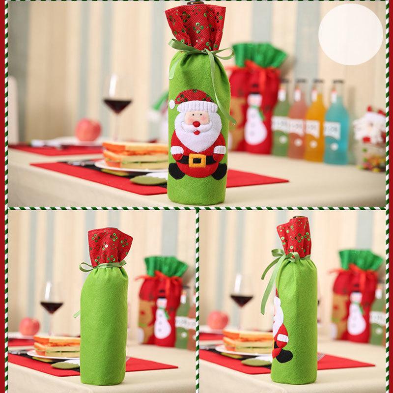 Style Christmas Beer Bottle Cover Bag Snowman Elk Dinner Decor Decoration J72v