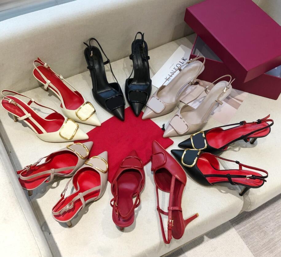 النساء العلامة التجارية عالية الكعب صندل 10cm ورقيقة كعب حذاء الزفاف الحمراء حقيقية الجلود المعادن V شعار الأحذية واحدة مثيرة تو أشار