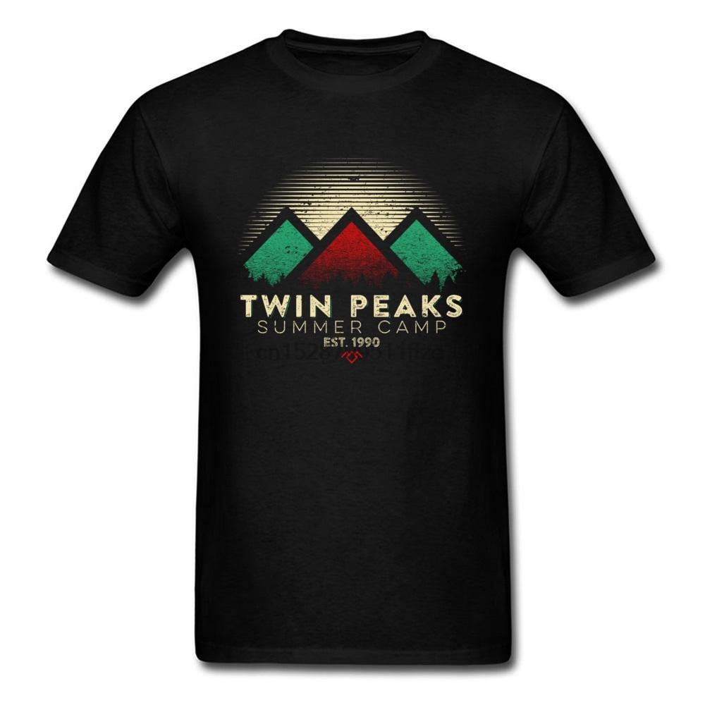 2018 Damn Good Verão T-shirt Twin Peaks Camiseta Homens Preto T-shirt de algodão T Geometric Tops Slim Fit camisola Vintage