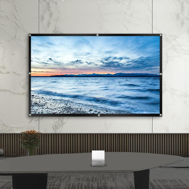 Pantalla proyector, 16: 9 HD plegable de anti-arrugas de proyección portátil películas en pantalla de cine en casa ALR pantalla para el proyector