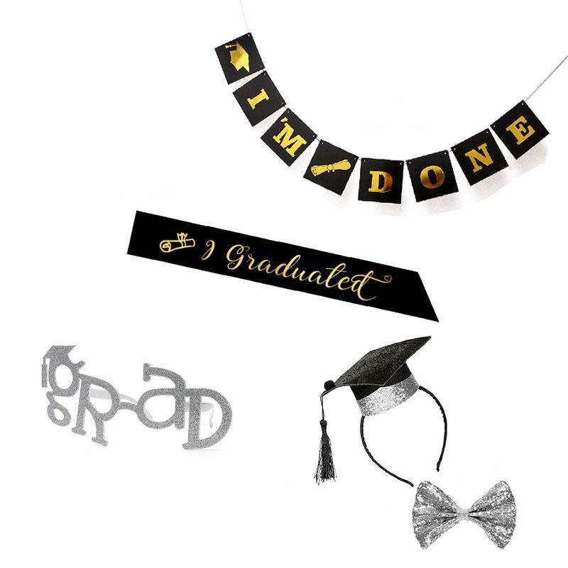 Ouro prateado GRAD Óculos Óculos graduação Cap Sash Headband Bow partido graduação da bandeira Laço Cerimônia