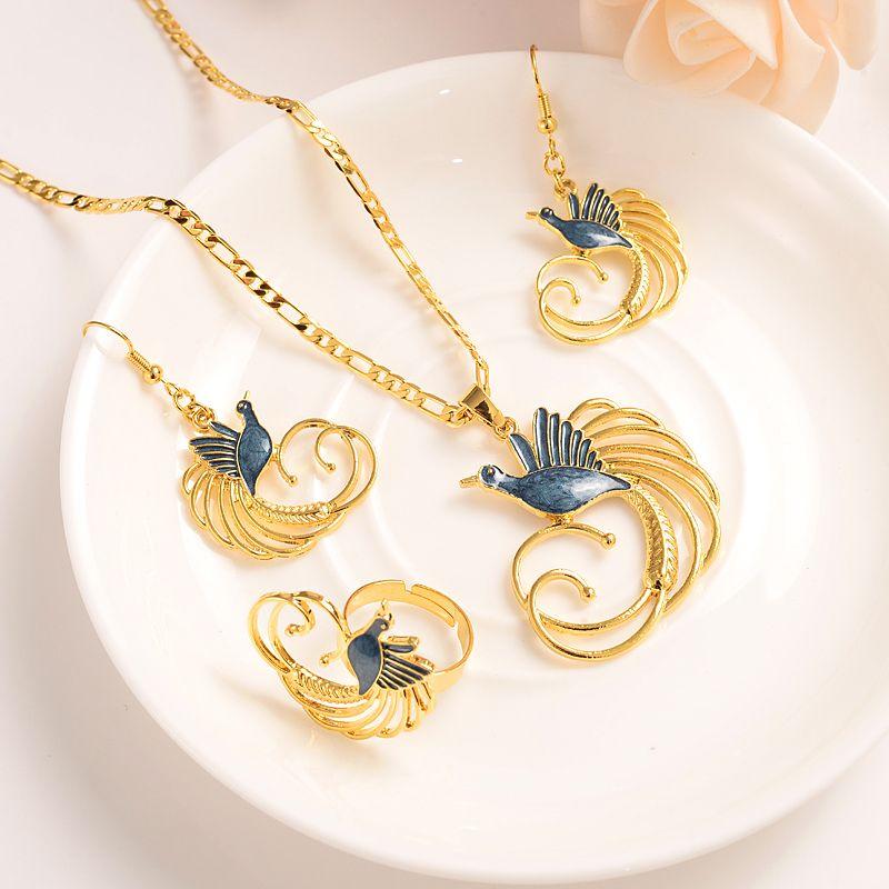 Gold Farbe PNG Schmuckset Kristall Vogel-Anhänger Halsketten Ohrringe Papua-Neuguinea Hochzeit Brautpartei Frauen Mädchen Geschenke