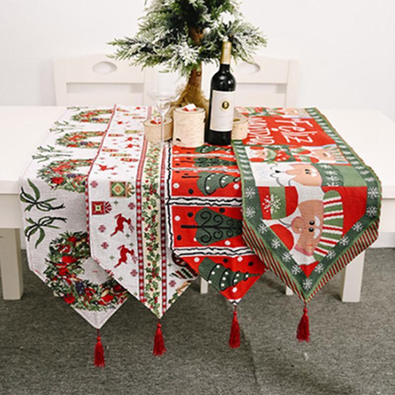 Drapeaux de table de Noël Joyeux Noël NAPPE Décoration de Noël Accueil Table Mat Arbre de Noël du Père Noël Elk IIA585 Tablecloth