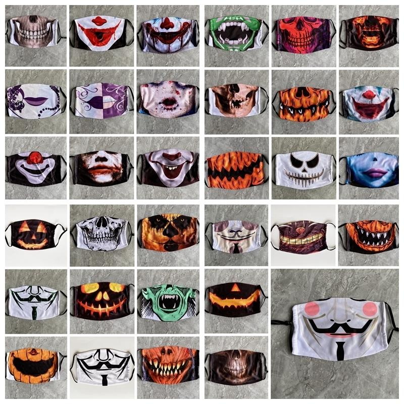 Hallowmas Funny Skull Face Mask Pm2.5 Dustproof Clown Masks Washable Anti Dust Pumpkin Printing Designer Masks 33styles Rra3362