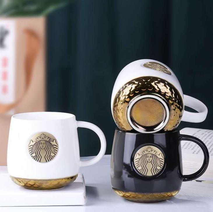 أحدث 1-450ML ستاربكس القدح السيراميك كأس القهوة هدية مربع التعبئة والتغليف، مقياس الأسماك البرونزية، دعم التخصيص