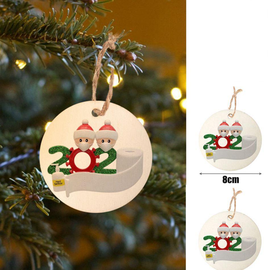 DIY Christmas Ornament Pendant Quarantine Family of 2 Name Greetings PVC Mask 8cm Christmas Tree Pendant OOA9081