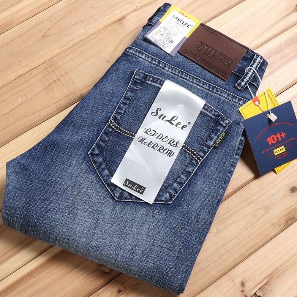 mb1Ma AFrl6 Yüksek kaliteli yaz kot rahat ve kot ince erkekler iş gevşek büyük boy pantolon gündelik düz gençlik erkek pantolon germek