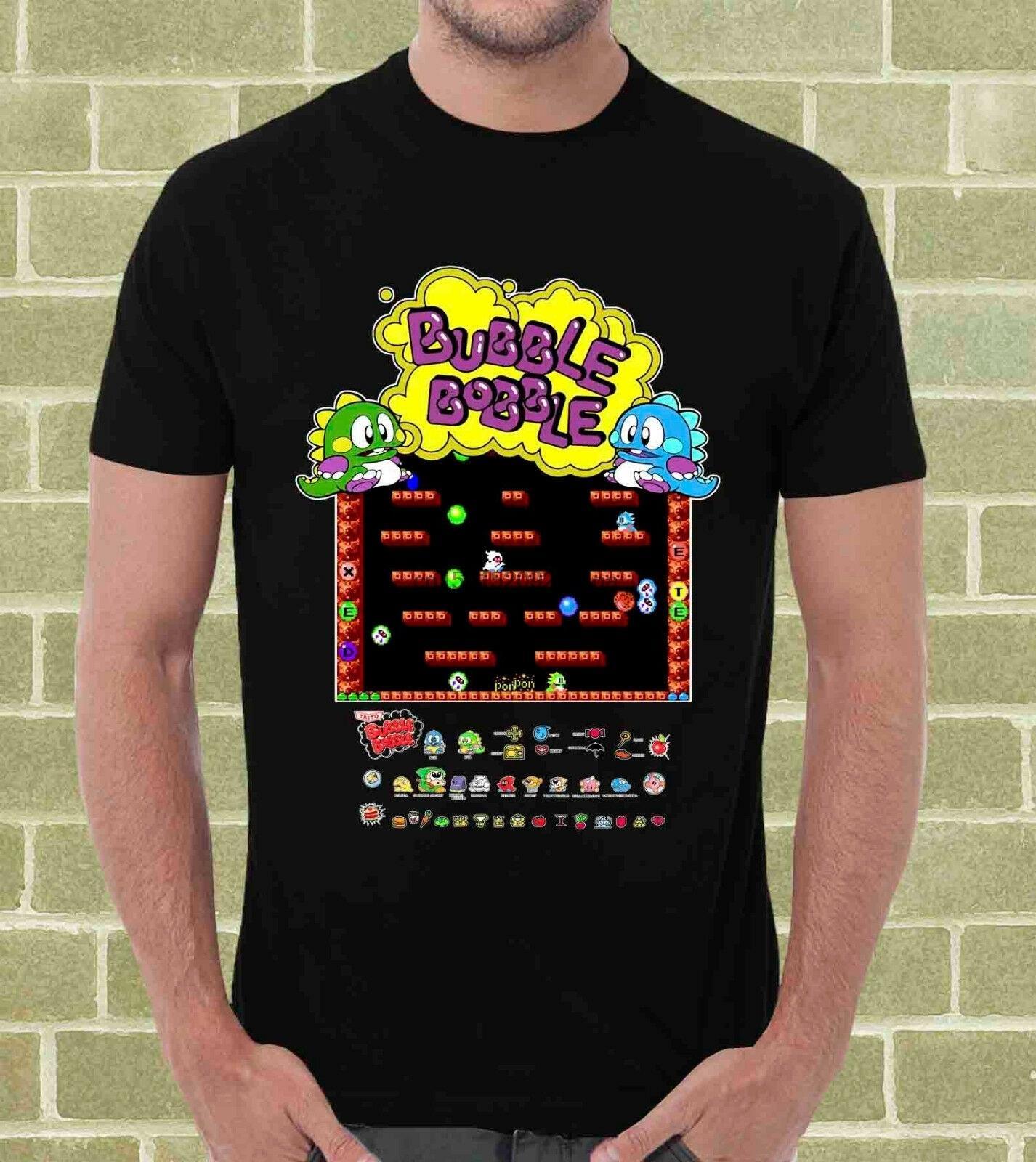 Bubble Bobble Videogame T-shirt Uomo Tops T-shirts style décontracté T-shirt