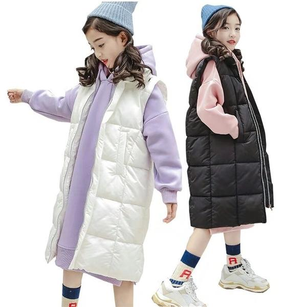 Girls Clothes Sets Winter Girls Down Jacket Vest Children Clothing Velvet Long Hoodie Kids Tracksuit Teenager Kids Costume 10 Y 0926