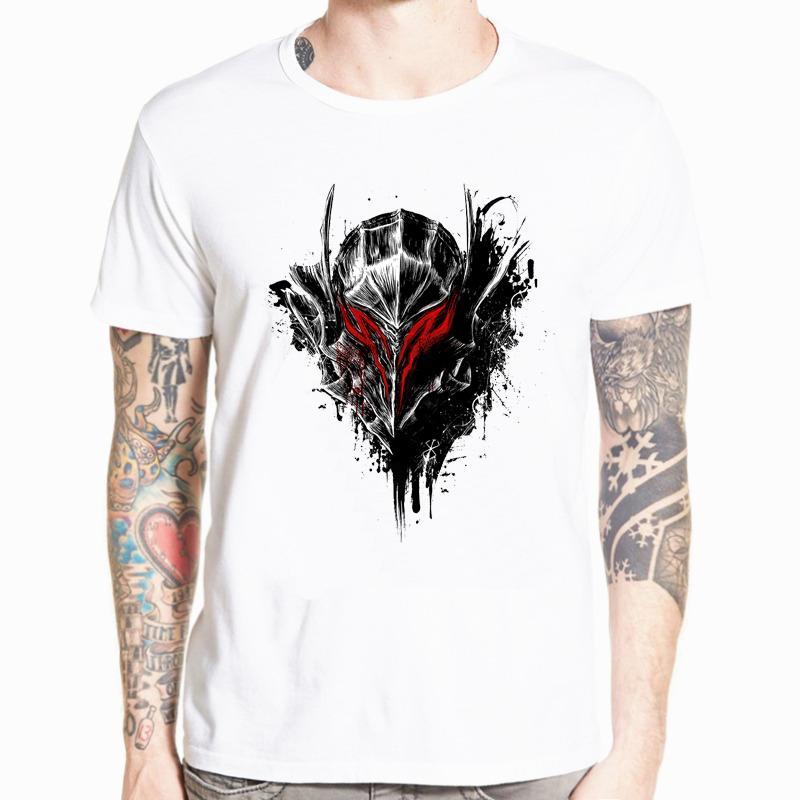 Мужская футболка Берсерк Манга Аниме Черный Воин Потрясающие Произведение Printed Tee Streetwear Смешные футболки Новый летний тенниска