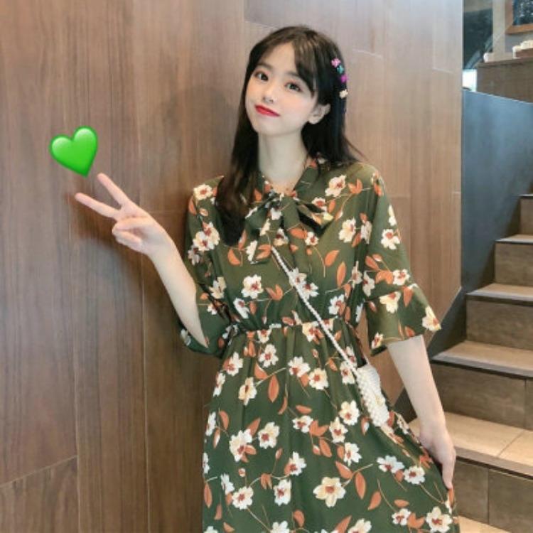 3DpMz Sb été clothingnew style coréen robe grande balançoire à manches courtes minceur taille robe imprimée fleurs mode de vêtements pour femmes étudiants