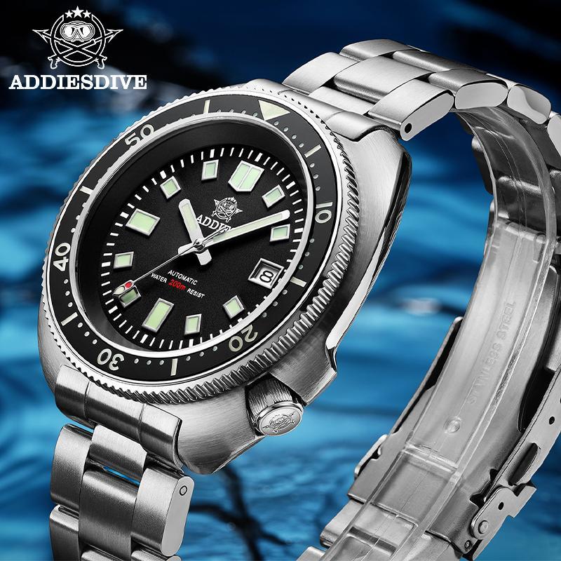 ساعات المعصم 1970 Abalone Dive Watch 200m الياقوت Crystal Calendar NH35 الأوتوماتيكية ميكانيكية الصلب الغوص الرجال