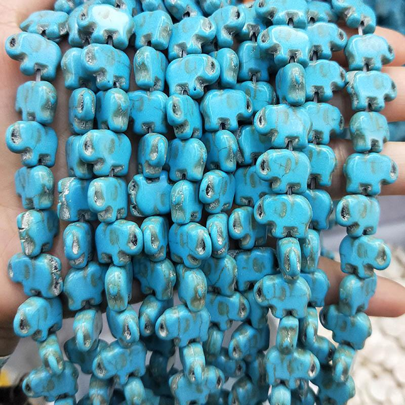 Wholesale Blue Elephant Turquoise Beads For Jewelry Making Bracelet Necklace 15X11X5mm Carved Howlite Blue Stone Beads Wholesale