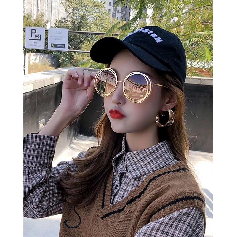 2020 New Fashion Alloy Round Sunglasses For Women Chic Circle Gradient Sun Glasses Female Goggle Shades oculos