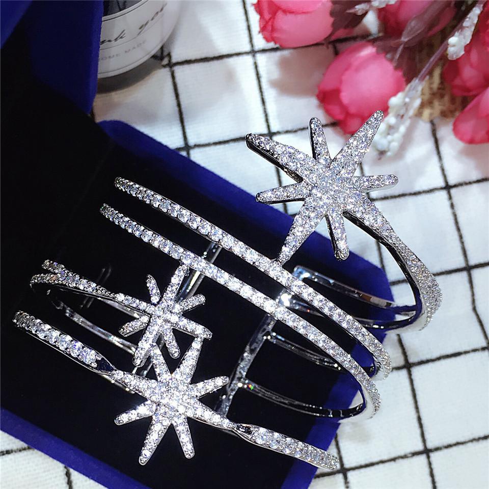 HIBRIDE clásico Cubic Zirconia de lujo pavimenta las pulseras Cuff Mujeres suerte estrella ajustable abierto de los brazaletes para los regalos de B-117