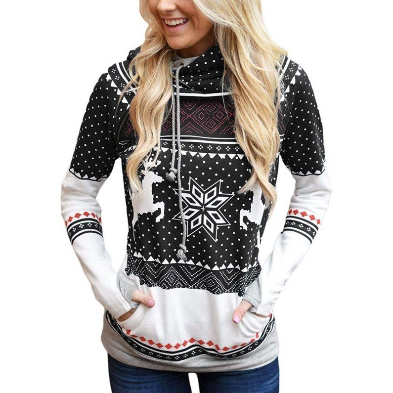 Natal Elk floco de neve Impresso Mulheres com capuz Hoodies Designers Dedo Sweater Com o Pocket Casual D9305 Sports outono capuz Roupa