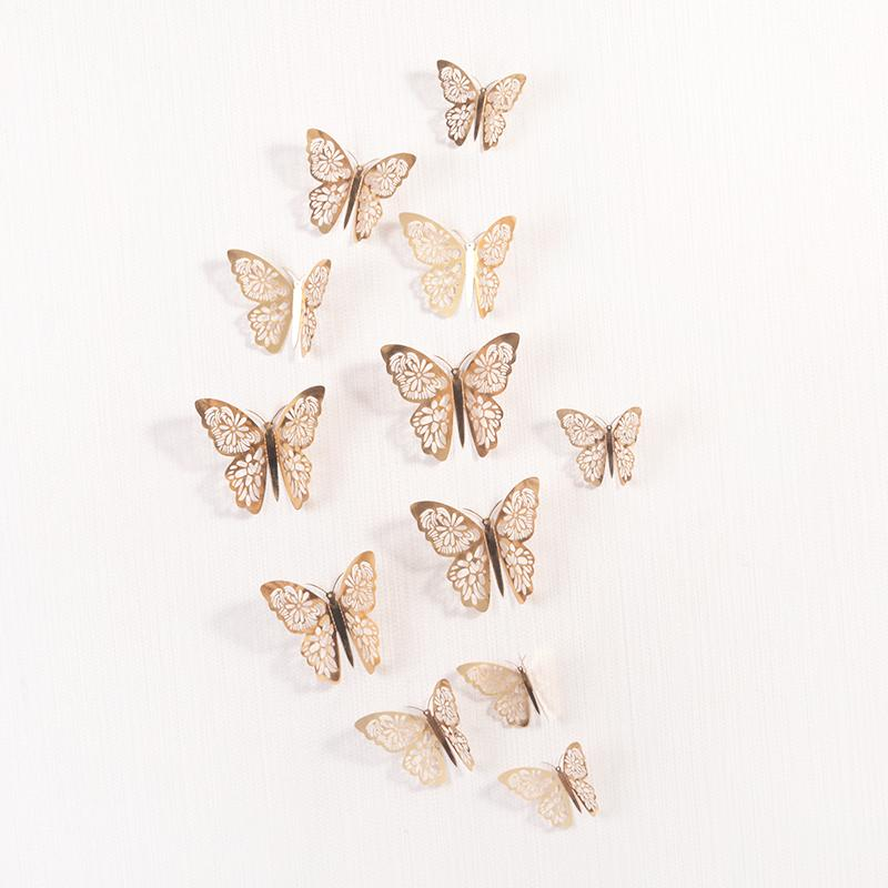 Amais 12 Pcs/Set 3D Wall Stickers Hollow Butterfly for Kids Rooms Home Wall Decor DIY Mariposas Fridge stickers Room Decoration
