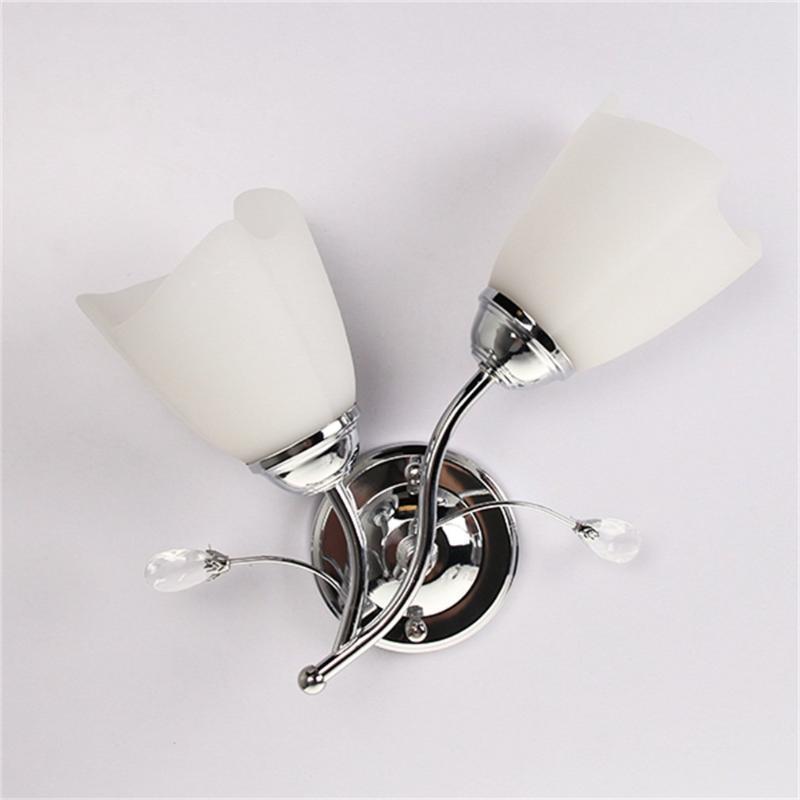 Wall Lamp E27 Single/Double Head Sconce Chrome Steel Glass Light Corridor Living Room Decor Super Deal! Inventory Clearance