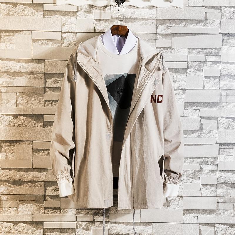 1khah primavera e l'autunno Nuovo stampati stile coreano paio casuale allentata casuale uomini giacca del rivestimento incappucciato gioventù di tendenza