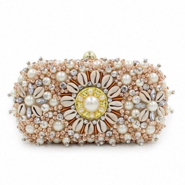 Gold Crystal Clutches Evening Bags Wedding Party Banquet Wallet Women Pearl Beaded Handbags Bridal Rhinestones Clutch Bag Ivanka Trump HZ5j#