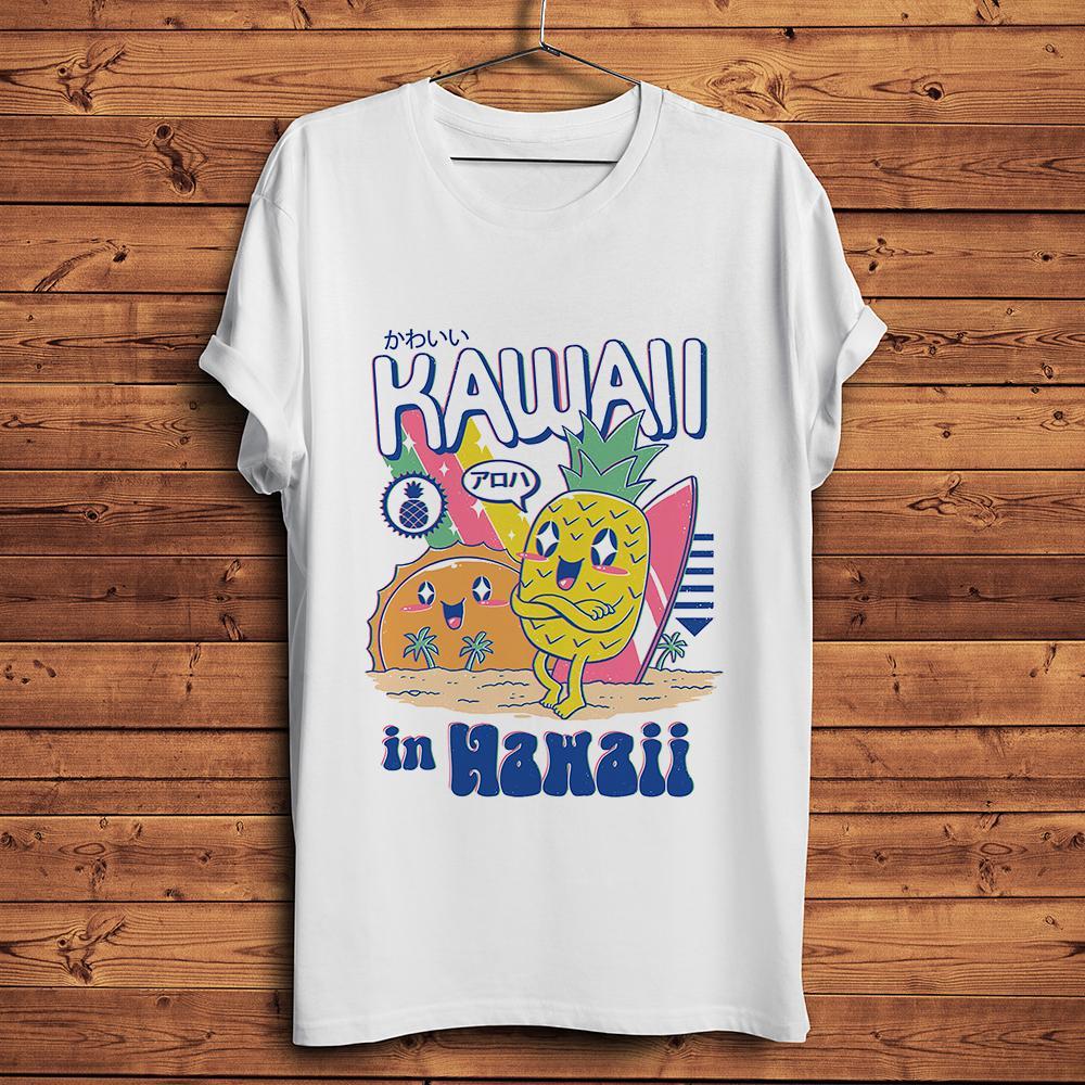 Ananas Kawaii in Hawaii kurzen kühlen T-Shirt homme Sommer Hülse T-Shirt Männer weiß Vintage-lässige T-Shirt unisex Street