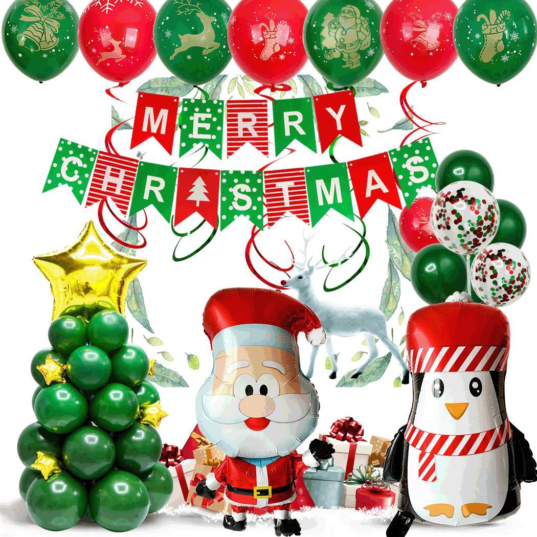 Noel sahne ile Noel dekorasyon Noel balon 12 inç yuvarlak lateks alüminyum filmi kombinasyonu
