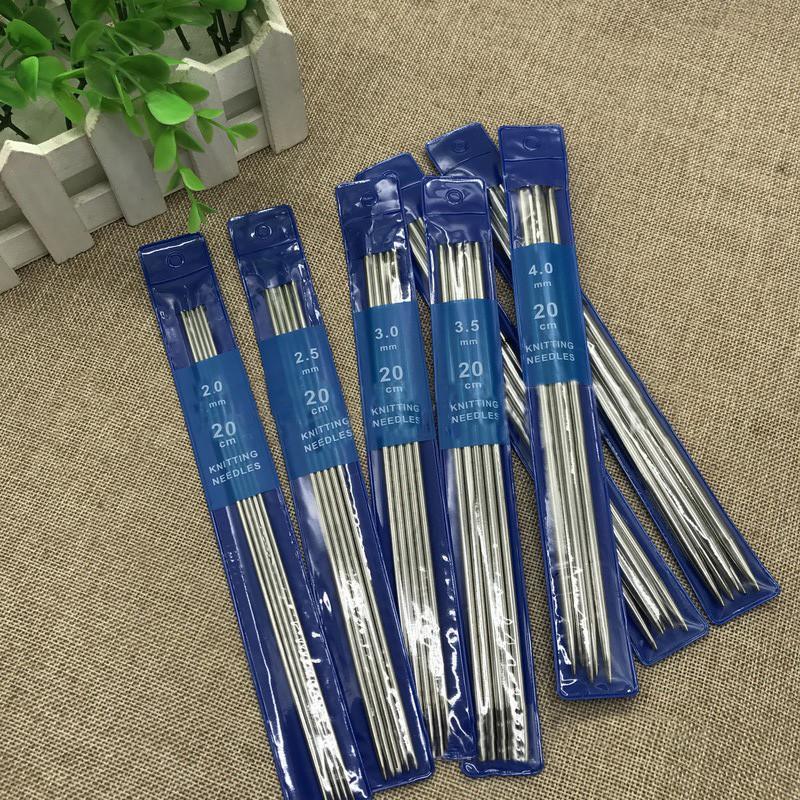 35pcs / комплект 20см Straight вязальные спицы из нержавеющей стали вязания Крючки для DIY Плетение Вязание Инструменты Швейные аксессуары