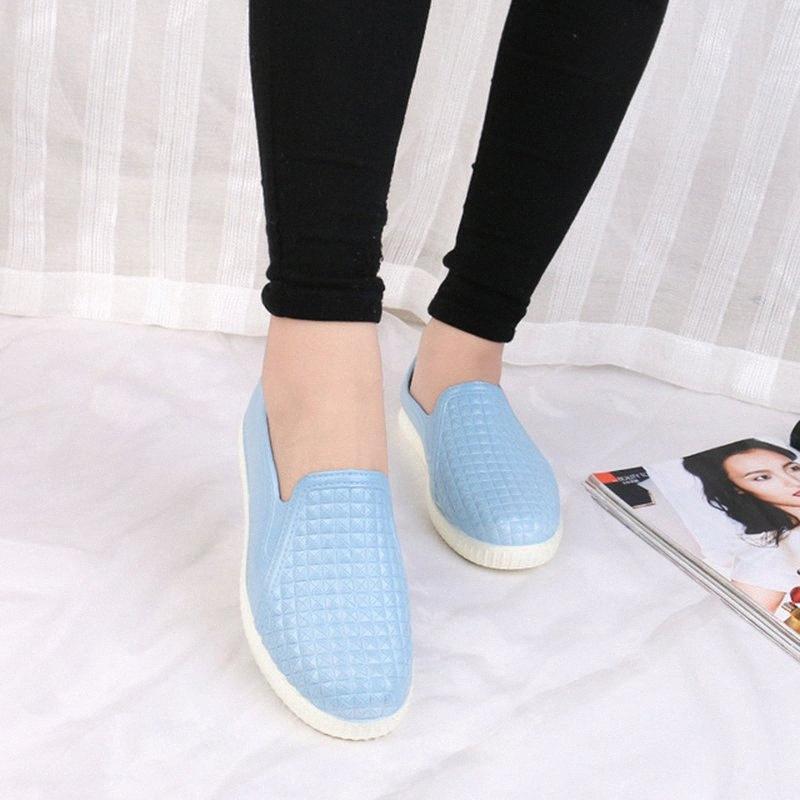 2019 İlkbahar Yaz Kaymaz Kadın Düz Ayakkabı Yağmur Ayakkabı Kadın Boyut 40 u4zh # için Loafers On Bayan PVC Su geçirmez ayakkabı Casual Kayma