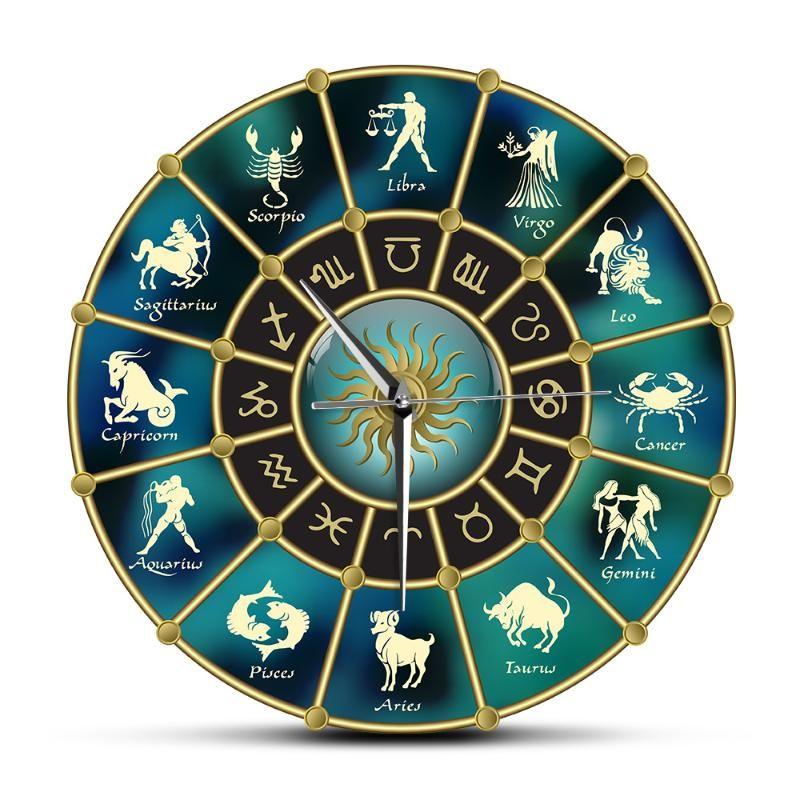 Ouro Horóscopo círculo azul com sinais de Zodiac Acrílico Relógio de parede Mute Constellation símbolo da astrologia Home Decor Recados Assista