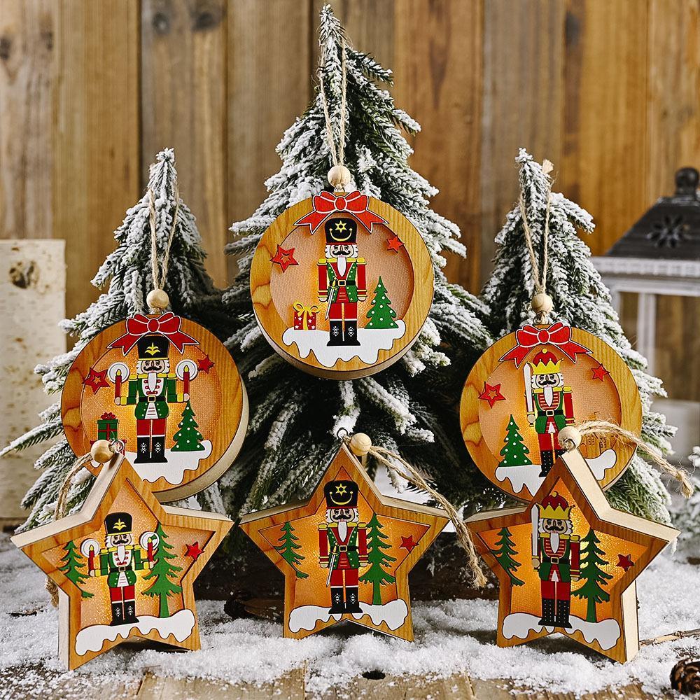 Noel Süsleri Ahşap Ceviz Asker ile Lambası kolye Yuvarlak Beş Yıldızlı kolye Noel ağacı kolye Sivri