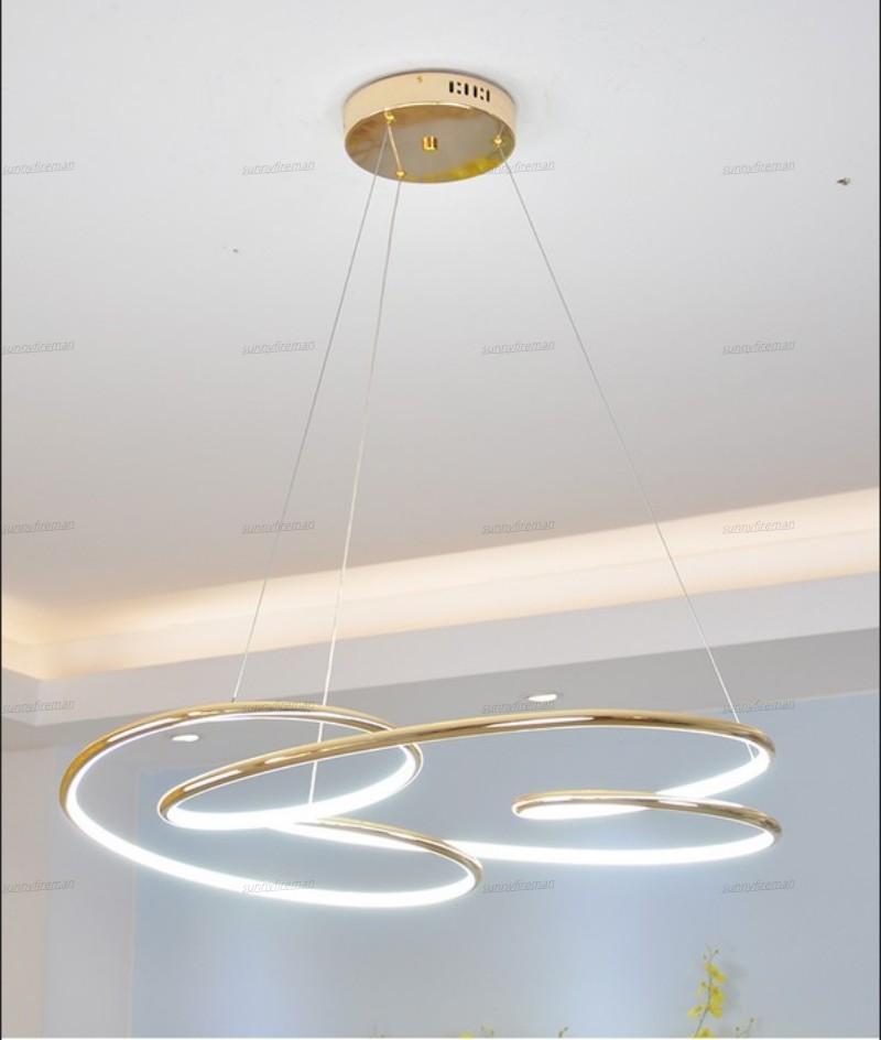 Золото хромирование Современные подвесные светильники водить офис современный дизайн Гостиная Спальня и кухня висит зажигает светильники