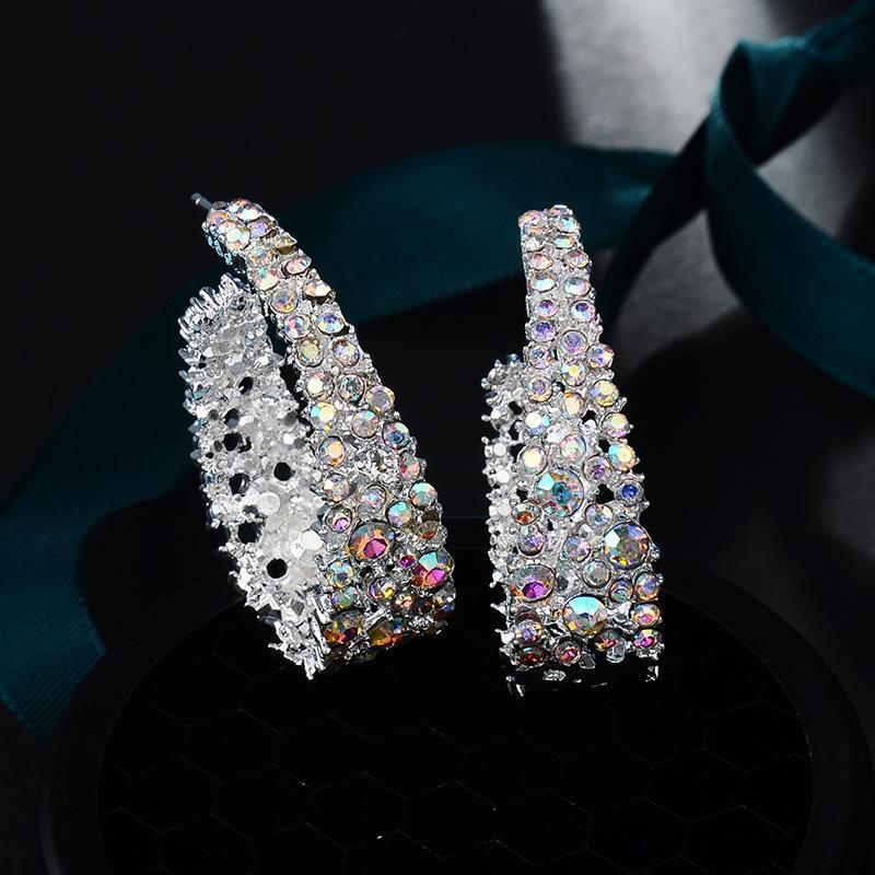 2020 nuova dichiarazione orecchini del cerchio di donne d'avanguardia di orecchini di modo di cristallo variopinto di esagerazione