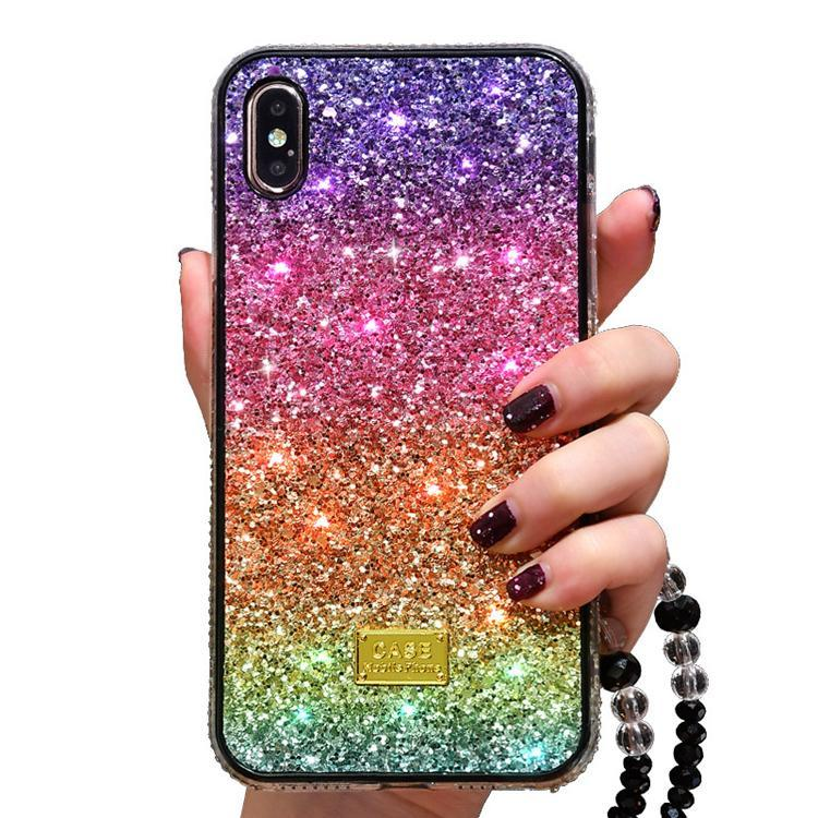Luxury bling bling Rhinestone Glitter phone case for iphone 11 pro 6 7 8 plus X XR XS MAX Diamond rainbow Gradient color back case cover
