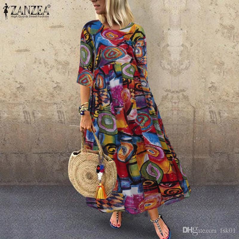 Летнее Богемное платье на печатном платье Zanzea длинные Maxi платья женщин Винтаж Vestido халат плиссированный плюс размер Femme 3/4 рукав туника кг-1026