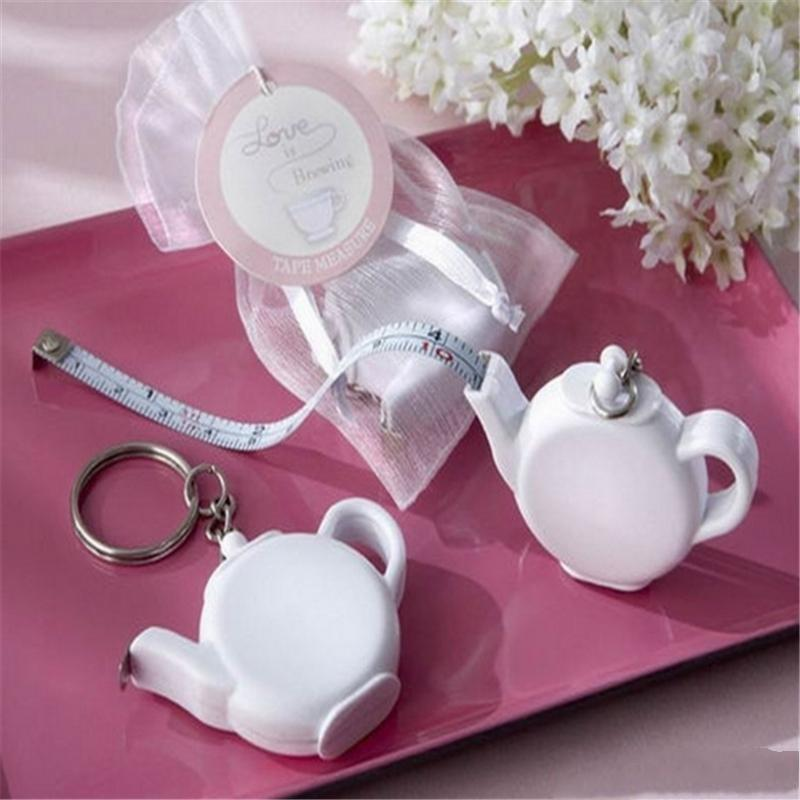 Bande de mesure portable Keychain unique Design Mini L'amour est Brewing Teapot Party cadeau Creative Wedding Favor Souvenirs 2 5XN YY