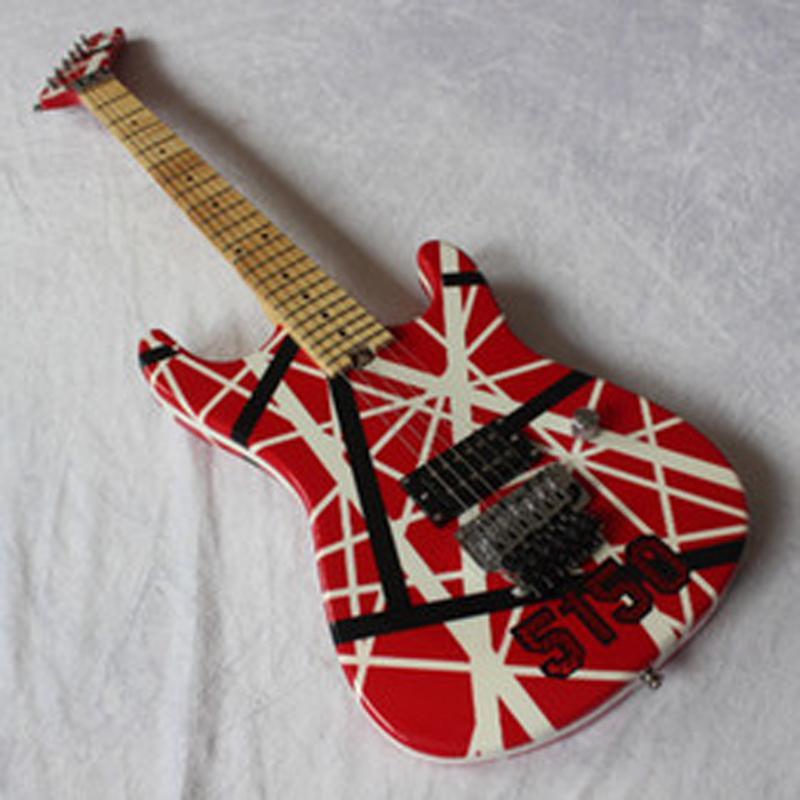 hardcase ile / 5150 Kırmızı Elektro Gitar / Beyaz Siyah Çizgili / Floyd Rose Tremolo Köprü Kramer Gang Edward Van Halen Yükseltildi